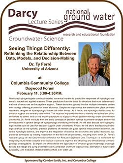 Darcy Lecture Series in Groundwater Science @ Collumbia College, Dogwood Forum | Sonora | California | United States