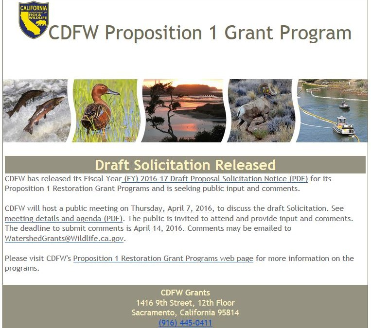 CDFW 2016-17 FY Prop 1 Grants – Draft Proposal Solicitation Public Meeting April 7, 2016